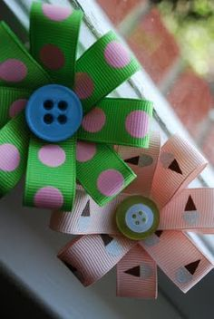 quick and easy hair ribbons.  First, just cut 8 strips of ribbon, about 1 1/2 inches long.