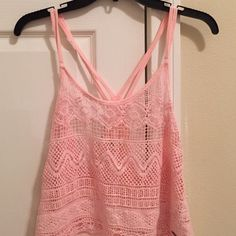 Hollister Crocheted Racerback Top great condition except a small hole at the bottom (barely noticeable) Hollister Tops Tank Tops