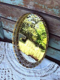 Vintage Mirror Vanity Tray Ormolu Style by primitivepincushion