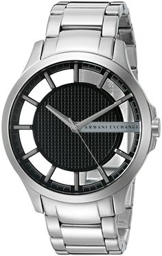 Armani Exchange Men's AX2179 Silver Watch. Features a durable mineral crystal. A fashionable stainless steel bracelet. Analog-quartz Movement. Case Diameter: 46mm. Water Resistant To 50m (165ft: in General, Suitable for Short Periods Of Recreational Swimming, but not Diving or Snorkeling.