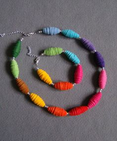 Felt beads made like rolled paper ones