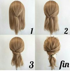 Coiffure facile Facile rapideYou can find Blonde brunette and more on our website. Medium Hair Styles, Curly Hair Styles, Hair Styles Work, Work Hairstyles, Easy Hairstyles For Medium Hair, Low Pony Hairstyles, Medium Hair Updo Easy, Easy Ponytail Hairstyles, Updos For Medium Length Hair Tutorial
