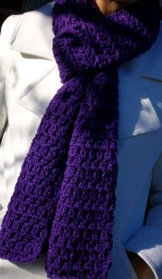 Royal Purple Crochet Scarf by RobbienaeQuilts on Etsy, $15.00