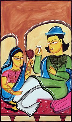 Zamindar of Medieval Bengal - Bengal Folk Art or Kalighat Painting $36.00 only  #india #kolkata #tourism #travel #art #craft #kantinathbanerjee