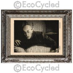 New to EcoCycled on Etsy: Nosferatu on Vintage Upcycled Dictionary Art Print Book Art Print Recycled Repurposed Vampire Movie Monster (10.00 USD)
