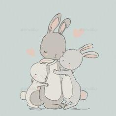 Sweet hares - mom and kids stock vector. Illustration of mama - 80736885 Mom Drawing, Bunny Drawing, Bunny Art, Drawing For Kids, Illustration Mignonne, Baby Illustration, Baby Kind, Mom And Baby, Animal Drawings