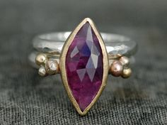Rose Cut Raspberry Pink/Purple Sapphire in Sterling Silver, Rose Gold, and 22k Yellow Gold Mixed-Metal Ring and Matching Band- Ready to Ship
