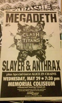 Clash Of The Titans, Wallpaper Stickers, Alice In Chains, Punk Art, Band Posters, Special Guest, Zine, Flyers, Heavy Metal