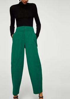 Cotton crop trousers - Women | MANGO USA