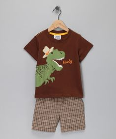 Brown 'Howdy' Dino Tee & Shorts - Infant, Toddler & Boys