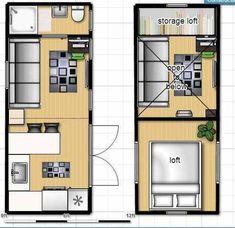 Tiny house on wheels floor plan with single loft