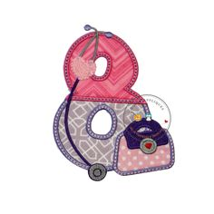 Girl doctor birthday number eight- iron on patch