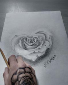 Skull Rose Tattoos, Flower Tattoos, Body Art Tattoos, New Tattoos, Sleeve Tattoos, Rose Drawing Tattoo, Tatoo Rose, Tattoo Drawings, Diy Tattoo