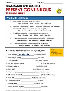 English Grammar Present Continuous Spelling Rules Words With One Syllable www.allthingsgrammar.com/present-continuous.html