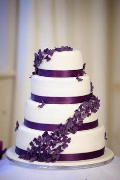 Purple butterflies wedding cake