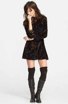 I love the open back and metallic print :) Free People Long Sleeve Velvet Romper available at #Nordstrom