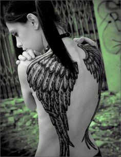 Angel Tattoos on Back of Women