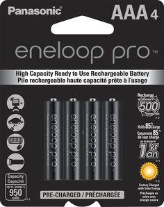 Panasonic - eneloop pro Rechargeable AAA Batteries (4-pack) - Black, BK-4HCCA4BA