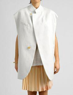 3.1 Phillip Lim cotton sateen vest with raw seams at Bird : ShopBird.com #shopbird15 #ss14