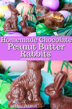 Little Homemade Chocolate Peanut Butter Rabbits are just perfect for Easter Baskets! Best Chocolate Desserts, Chocolate Candy Melts, Homemade Chocolate, Chocolate Peanut Butter, Slow Cooker Recipes Dessert, Dessert Recipes For Kids, Easter Recipes, Candy Recipes, Cute Easter Desserts