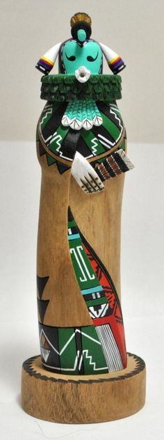 #Zuni #kachinas are not common, but here is a stunning piece--Kain na 'Kwe Kachina --by Tiffany Tsabetsaye