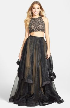 Terani Couture Beaded Top & Organza Two-Piece Ballgown | Nordstrom ...