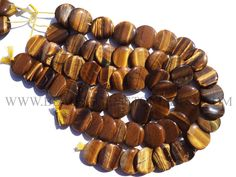 Tiger Eye Smooth Disc (Quality AA+) / 25 to 28 mm / 36 cm / TI-060 by beadsogemstone on Etsy