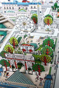 Pop-up Paris Map book by Sylvie Bessard PARIS / Editions Milan. 2013 www. Paper Design, Book Design, Pop Up Karten, Paper Pop, Paper Engineering, Illustration, Handmade Books, Pop Up Cards, Book Making