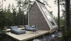 Looking anything but a shack, this minimal but stylish lakeside cabin was built to be just small enough so that it wouldn't require a permit.