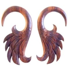 Wings. 4g gauged earrings, Wood Earrings.