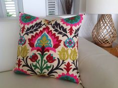 Colourful Cushions Desert Flower Pillow Colourful Bright Medallion & Desert Flower Cushion Designer Style. Bedroom Cushions, Lounge Cushions