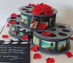Film Reel Cakes - *Made for a joint 60th, 65th birthday and 40 year anniversary