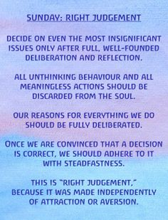 Waldorf ~ Rhythm ~ Sunday: Right Judgement