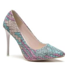 Women-039-s-High-Heels-Pointed-Toe-Platform-Pumps-PU-Leather-Stiletto-Court-Shoes-FW