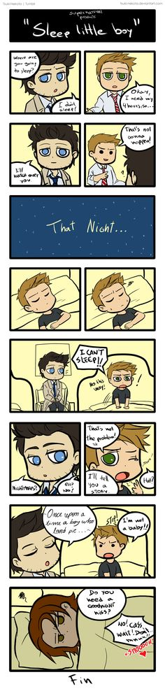 """1. Cas what are you thinking? XD 2. Poor Dean X""""D 3. Sam looks like he is ready to kill someone for waking him up O-O"""