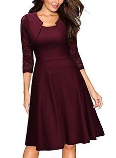 857915cdb696 Miusol Damen Abendkleid Elegant Cocktailkleid Vintag Kleider 3 4 Arm mit  Spitzen Knielang Party Kleid Weinrot Gr.36-46  Amazon.de  Bekleidung