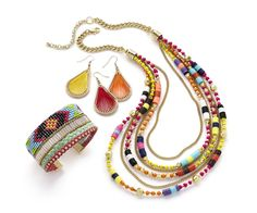 Throw a collage of color into your look with jewelry that features unique designs in a multitude of colors.