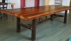Antique Reclaimed Pine and Hickory Dining Table - rustic - dining tables - other metro - Hearthwoods Custom Furnishings