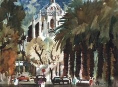 Don O'Neill Watercolor - Mission Inn From West, $94.99 (http://www.dononeill.com/mission-inn-from-west/)