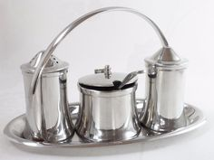Old Hall 5-Piece Vintage 18/8 Stainless Steel Cruet Set with Stand Tableware