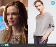 Caitlin's grey sweater with rainbow applique on The Flash. Outfit Details: https://wornontv.net/67880/ #TheFlash