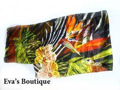 Beautiful natural silk scarf green brown orange by evarugina, €14.00