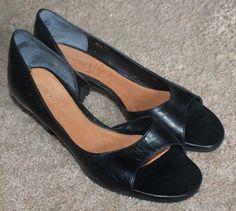Aerosoles black kitty kap black leather open toe heel shoes womens size 6.5B #Aerosoles #OpenToe #Casual