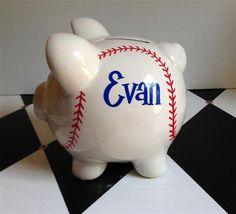 Baseball Piggy Bank Size Small Personalized by PreppyPiggy on Etsy, $16.00