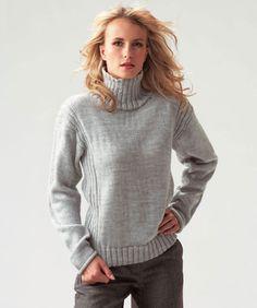 Der großzügige Rollkragen an diesem klassischen Pullover ersetzt den Schal, gleichzeitig sorgt das Rippenmuster für reichlich Bewegungsfreiheit.