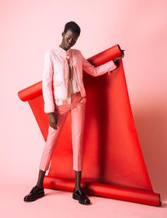 "Grazia South Africa, ""Pastel Pink"" fashion editorial, fashion lookbook. Pink and red color combo."