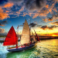 """""""Explore"""" by Dimitri Depaepe Sailboat Sunset"""