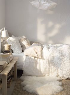 Love the blend of textures + that they're different shades of white, cream, ivory, etc.
