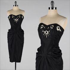 1950s dress . Black cut work