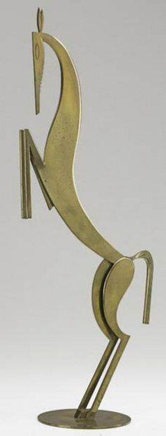Brass Sculpture; Hagenauer (Franz & Karl), Werkstatte, stamped, Tall Horse Figure, 21 inch.